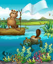 Beavers in the river illustration of Stock Images