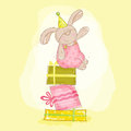 Bebê bunny birthday illustration Fotografia de Stock Royalty Free
