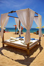Bed on the beach. Royalty Free Stock Photo