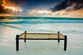 Bed on the beach Royalty Free Stock Photo