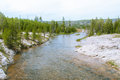 The Bed Firehole River of the Upper Geyser Basin in Yellowstone National Park Royalty Free Stock Photo