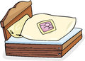 Bed furniture cartoon illustration of retro with bedding clip art Royalty Free Stock Images