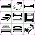 Bed icons set illustration Stock Photography