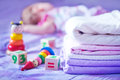 Bed linen clear for baby on the bad Stock Image