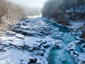 Bed mountain river white winter Stock Photography