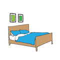 Bed pillow and blanket vector Royalty Free Stock Images