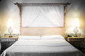 Bed ready for tourists closeup of a Royalty Free Stock Photo