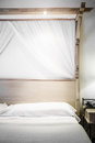 Bed ready for tourists closeup of a Royalty Free Stock Images