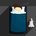 Bed sleep time salary man cartoon lifestyle illustration