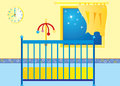 Bed time a illustration of a babies room at the Stock Image