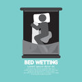 Bed wetting black graphic symbol vector illustration Stock Photography