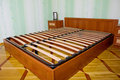 Bed with wooden slats for bed frame Royalty Free Stock Image