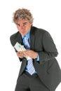Bedrijfs mens met gestolen geld Royalty-vrije Stock Afbeelding