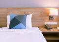 Bedroom with bed close up. The comfortable place in the house. Royalty Free Stock Photo