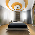 Bedroom in contemporary style d rendering Royalty Free Stock Images