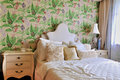 Bedroom in flowery style decoration Royalty Free Stock Photography