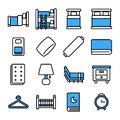 Bedroom icon set.Vector thin line style.