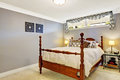Bedroom interior with old rustic bed Royalty Free Stock Photo