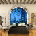 loft bedroom modern with big old window Royalty Free Stock Photo