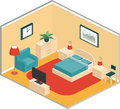 Bedroom retro interior in isometric style. Vector.