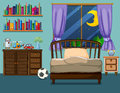 Bedroom scene with books and toys