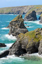 Bedruthan steps and samaritan island viewed from pendarves point cornwall england Stock Images