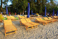 Beds on the beach in huahin, Thailand Royalty Free Stock Images