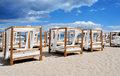 Beds and sunloungers in a beach club in Ibiza, Spain Royalty Free Stock Photo