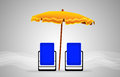Beds and umbrella on a beach Royalty Free Stock Photo