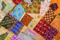 Bedspread patchwork in oriental style, closeup. Royalty Free Stock Photo