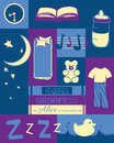 Bedtime rituals for a baby or toddler in night time colors Royalty Free Stock Image