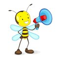 Bee announcing in Megaphone Stock Photo