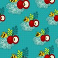 Bee and apple seamless pattern. Royalty Free Stock Photo