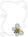 Bee border a cute cartoon flying around to create a dotted line Stock Photography
