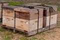 Bee boxes used to pollinate an almond orchard wooden Stock Photos