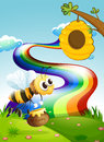 A bee carrying a pot of honey going to the beehive near the rain illustration rainbow Royalty Free Stock Image