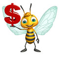 Bee cartoon character with doller sign d rendered illustration of Royalty Free Stock Image