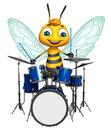 Bee cartoon character with drum d rendered illustration of Royalty Free Stock Photo