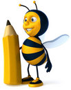 Bee with a crayon Stock Photos