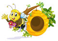 A bee with flowers near the beehive illustration of on white background Stock Photography
