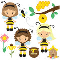 Bee girl vector illustration Royalty Free Stock Photo