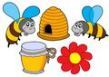 Bee and honey collection Stock Images