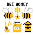 Bee honey funny doodle set. Beekeeping, apiculture: bee, hive, spoon, honeycomb, jar. Hand drawn cute cartoon vector illustration