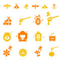 Bee and honey icon set. Organic natural . Royalty Free Stock Photo