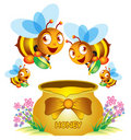 Bee and Honey Pot Royalty Free Stock Photo