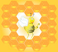 Bee and honeycombs Royalty Free Stock Photography