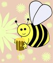 Bee image representing an happy on a flower background Stock Images