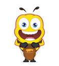 Bee with a jar of honey