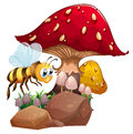 A bee near the giant red mushroom illustration of on white background Stock Images