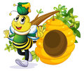 A bee with a pot above its head near the beehive illustration of on white background Royalty Free Stock Photo